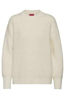 Dropped-shoulder sweater with dipped back hem, Natural