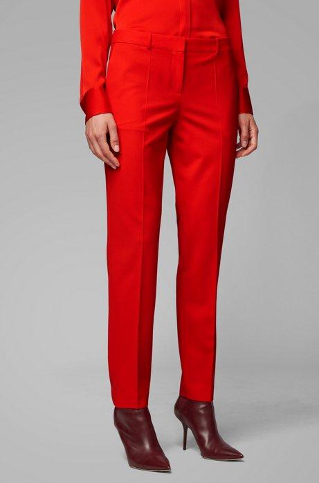 Regular-fit pants in Italian stretch-virgin-wool, Red