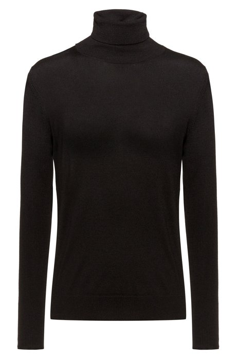 Regular-fit sweater in cashmere-touch merino, Black