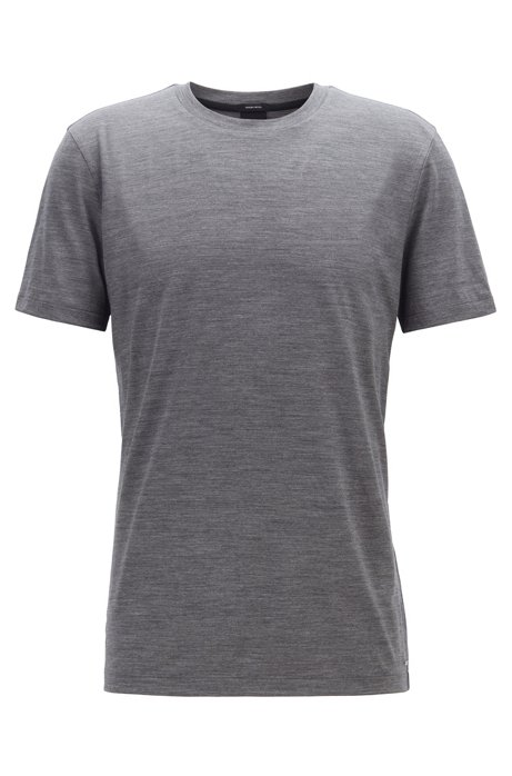 Regular-fit T-shirt in traceable Italian wool, Silver