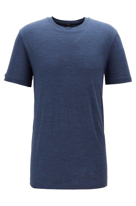 Regular-fit T-shirt in traceable Italian wool, Open Blue