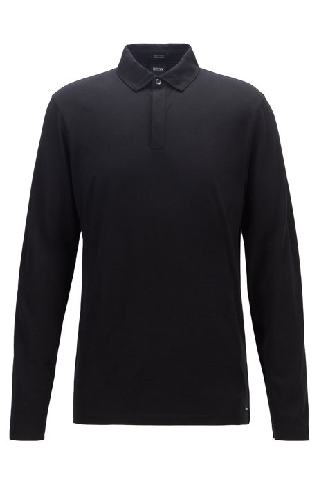 Long-sleeved polo shirt in traceable virgin wool, Black
