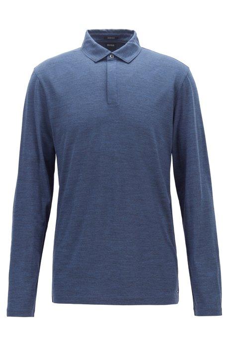 Long-sleeved polo shirt in traceable virgin wool, Open Blue