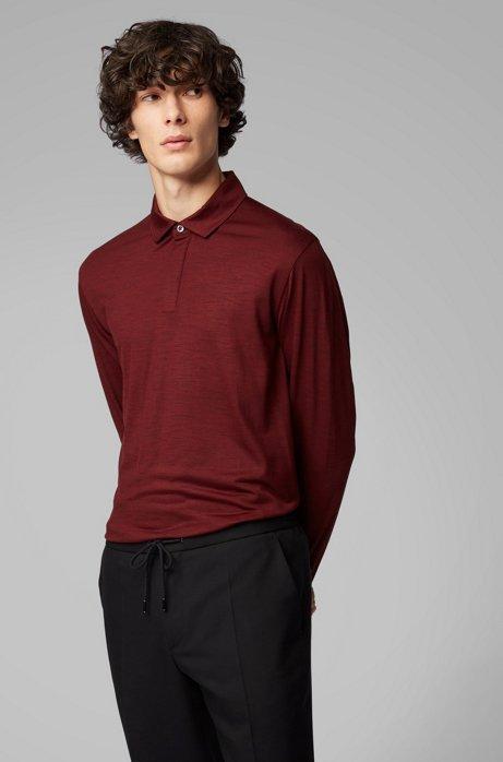 Long-sleeved polo shirt in traceable virgin wool, Dark Red