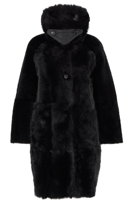 Relaxed-fit coat in Toscana shearling, Black