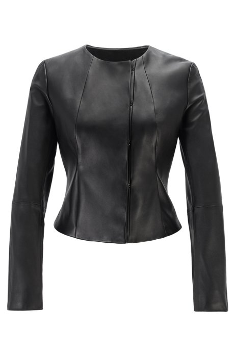 Collarless leather jacket with hook fastenings, Black
