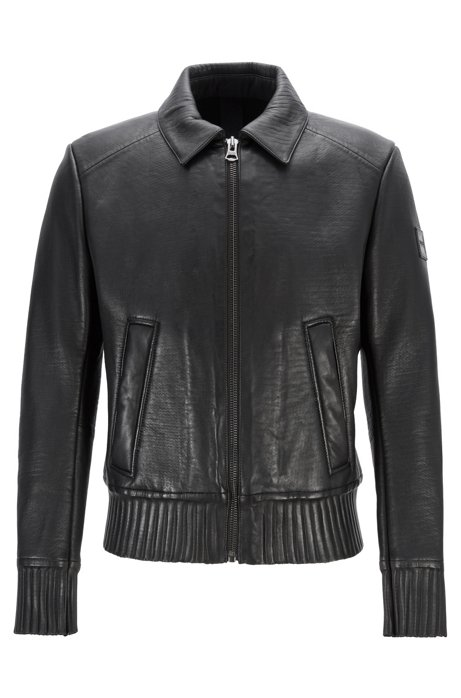 Slim-fit aviator-style jacket in plongé leather, Black