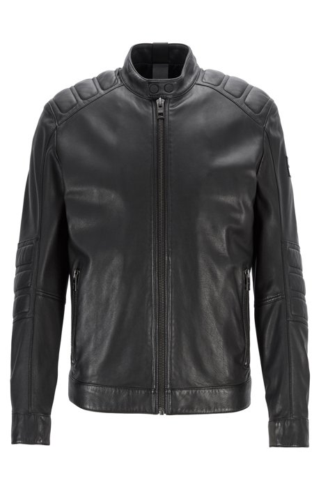 Leather biker jacket with quilted panels, Black