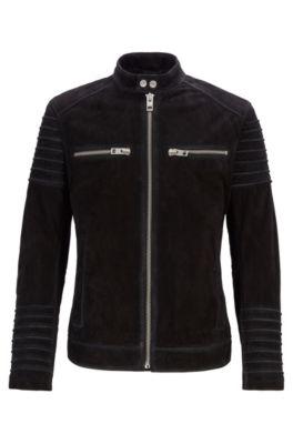 Slim-fit biker jacket in goat suede, Black