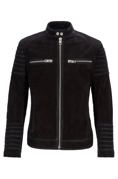 Slim-fit biker jacket in goat suede, Black