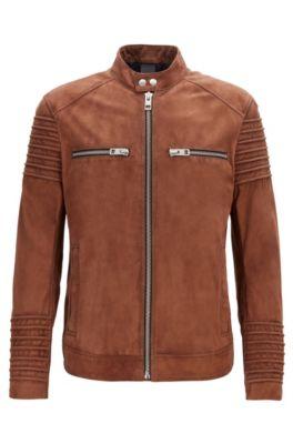 cute recognized brands timeless design Slim-fit biker jacket in goat suede