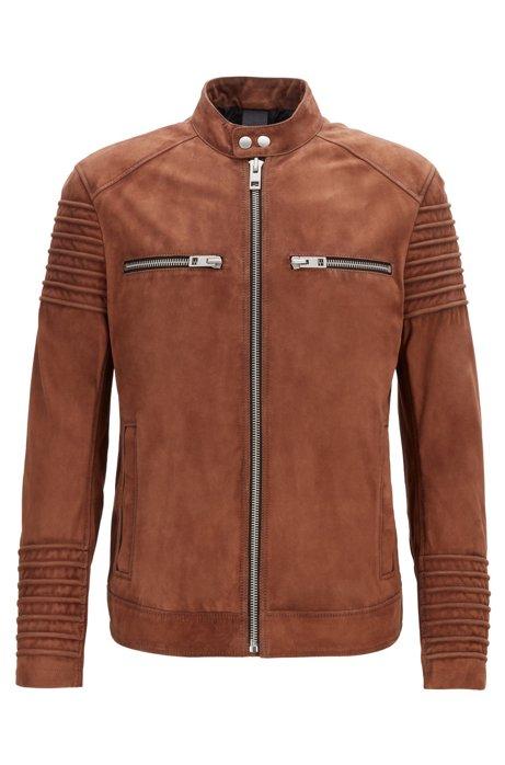 Slim-fit biker jacket in goat suede, Khaki