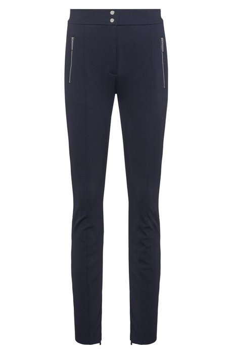 Slim-fit pants with metal-zip pockets, Dark Blue
