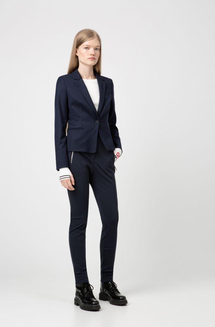 Slim-fit pants with metal-zip pockets