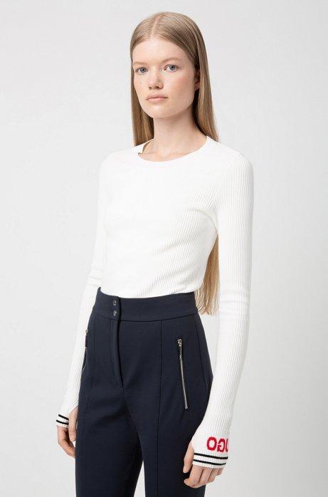 Slim-fit pants with metal-zip pockets, Dark Blue