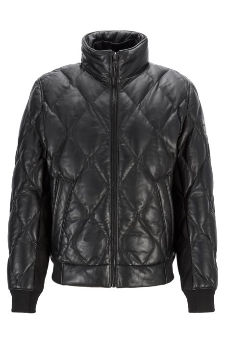 Quilted bomber jacket in olive-tanned leather, Black