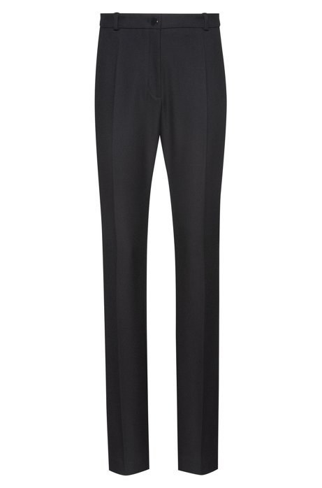 Regular-fit pants in stretch crepe with metallic button, Black