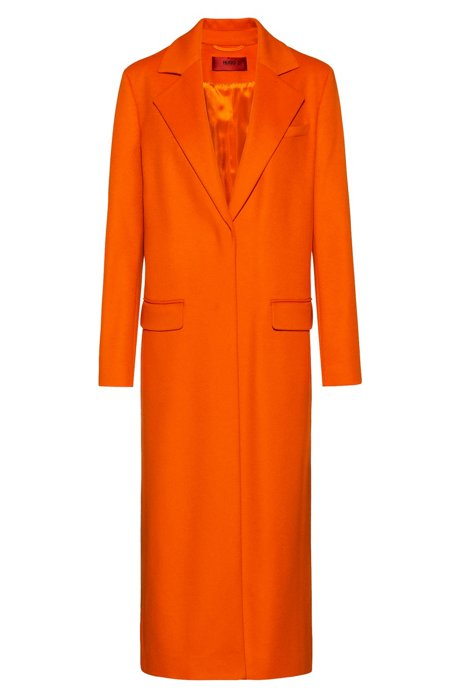 Relaxed-fit coat in a wool blend with cashmere, Orange