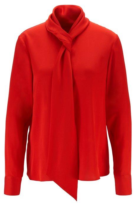 Crepe-de-chine blouse with tie neckline, Red