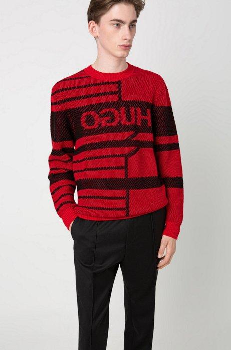 Jacquard-knit reverse-logo sweater in virgin wool, Open Pink