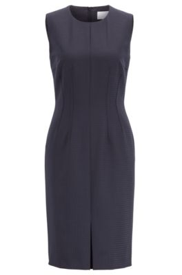 Slim-fit shift dress with shadow check, Patterned