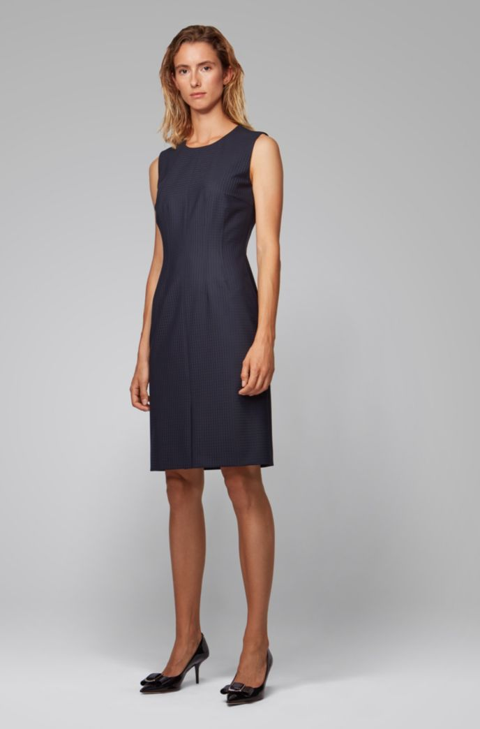 Slim-fit shift dress with shadow check