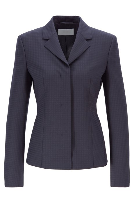 Slim-fit jacket in Italian fabric with shadow check , Patterned