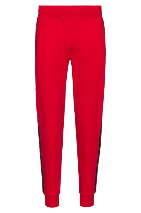 Regular-fit jogging pants with logo tape, Open Pink