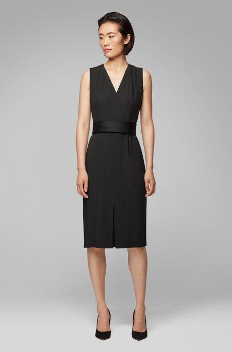 Sleeveless dress in Italian crepe with pleated V neck, Black