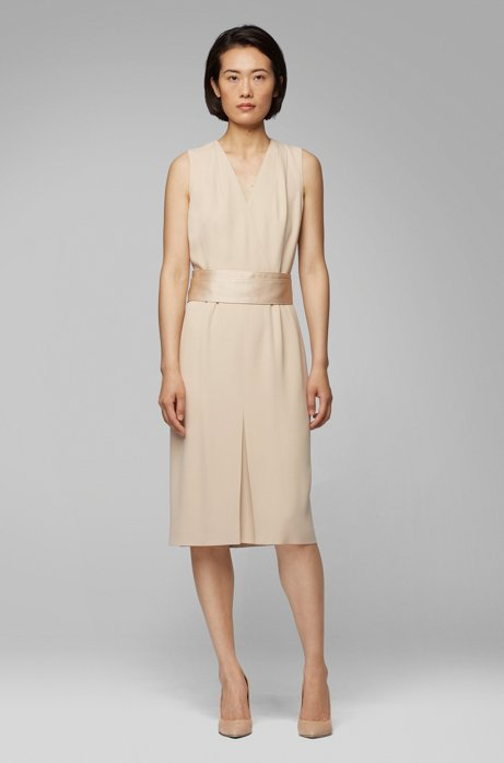 Sleeveless dress in Italian crepe with pleated V neck, Open Beige