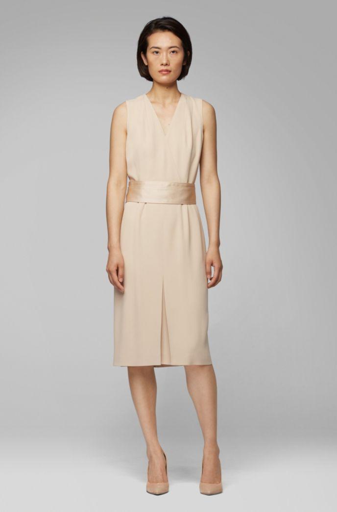 Sleeveless dress in Italian crepe with pleated V neck