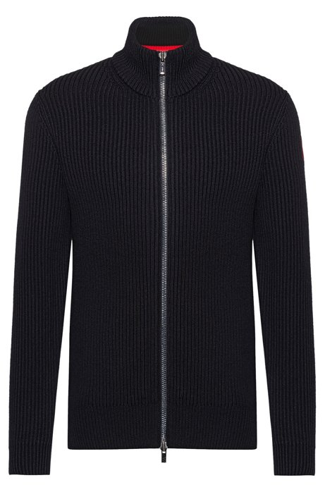 Regular-fit cardigan in wool-cotton blend, Black