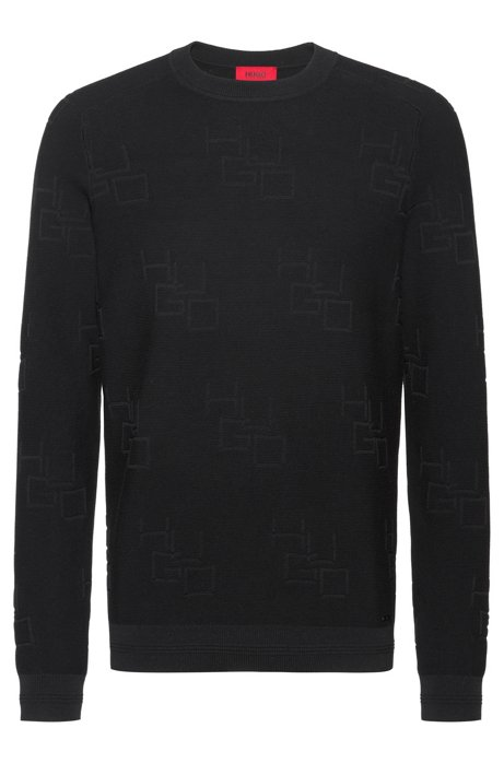 Crew-neck sweater in cotton with jacquard-knit logos, Black