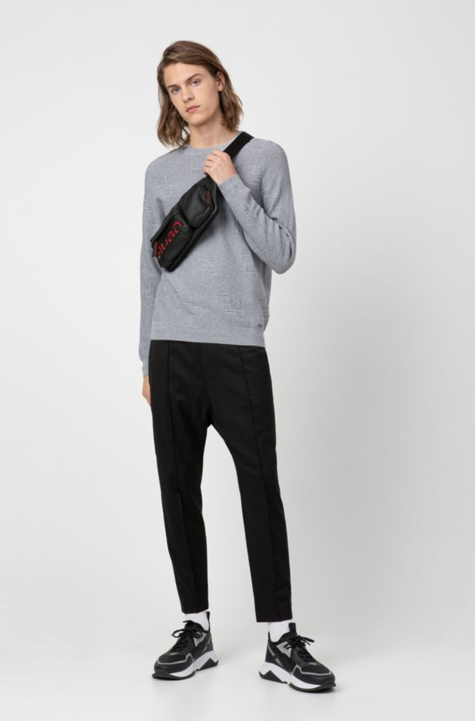 Crew-neck sweater in cotton with jacquard-knit logos