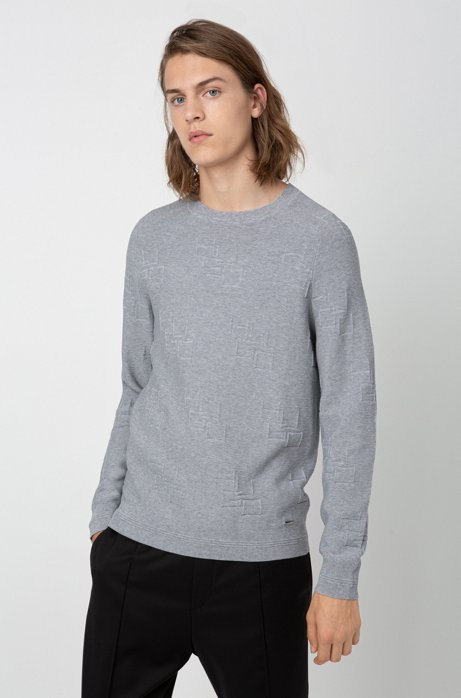 Crew-neck sweater in cotton with jacquard-knit logos, Grey