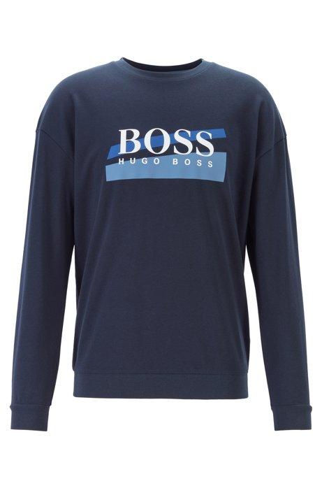 Loungewear sweatshirt with two-tone abstract logo, Dark Blue