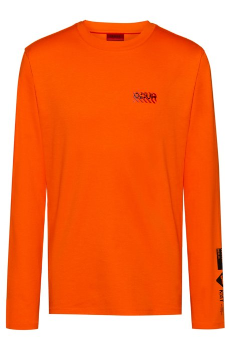 Long-sleeved cotton T-shirt with new-season artwork, Orange