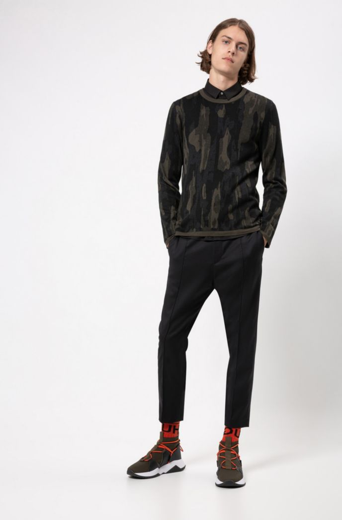 Regular-fit sweater in cotton blend with camouflage pattern