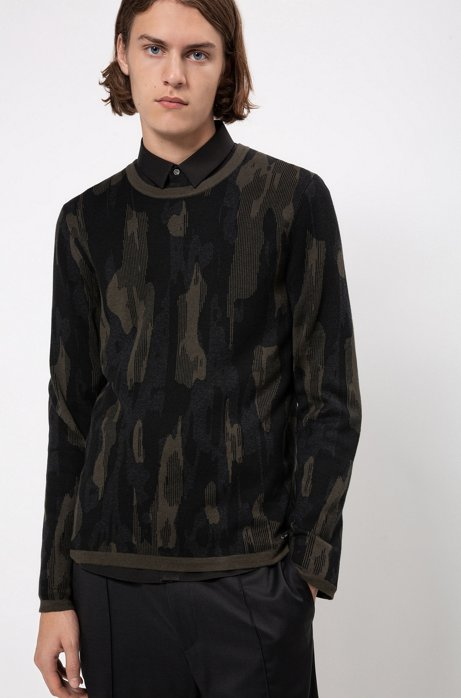 Regular-fit sweater in cotton blend with camouflage pattern, Dark Green