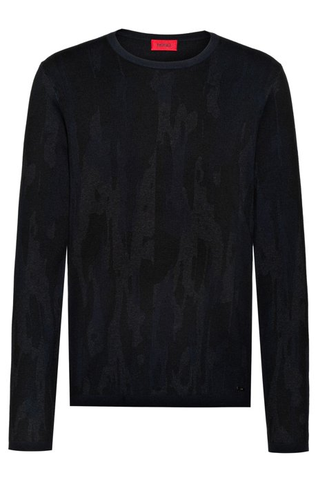 Regular-fit sweater in cotton blend with camouflage pattern, Dark Blue