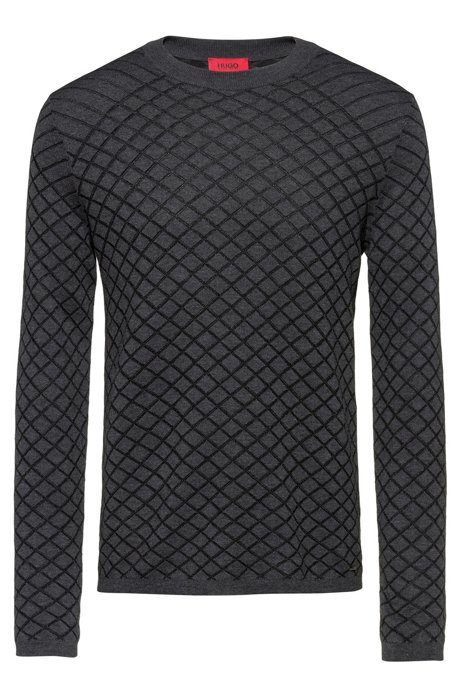 Slim-fit sweater in jacquard structure with long sleeves, Dark Grey