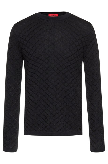 Slim-fit sweater in jacquard structure with long sleeves, Dark Blue