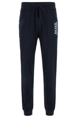 Loungewear pants in heavyweight cotton jersey with textured logo, Dark Blue