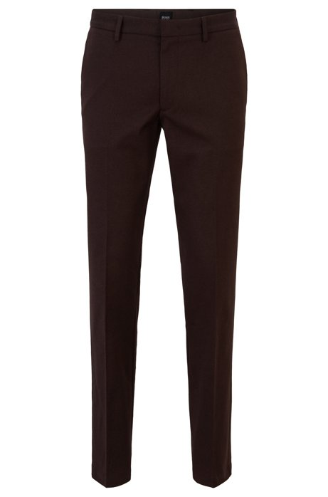 Slim-fit chinos in mouliné stretch twill, Dark Brown