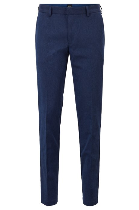 Slim-fit chinos in mouliné stretch twill, Dark Blue