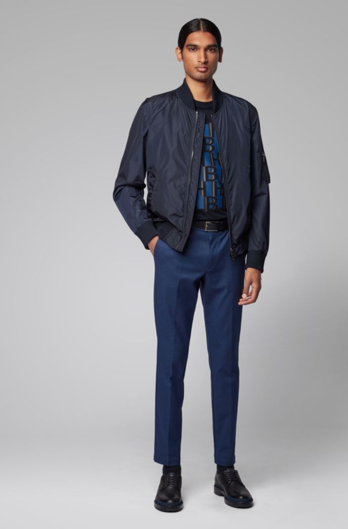 Slim-fit chinos in mouliné stretch twill