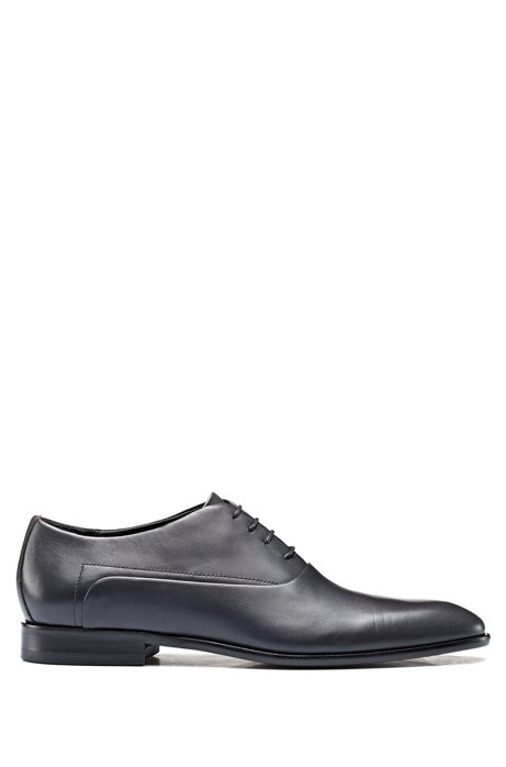 Oxford shoes in burnished leather with signature stitching, Dark Grey