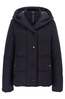 Relaxed-fit padded flannel jacket with zip-through inner, Open Blue