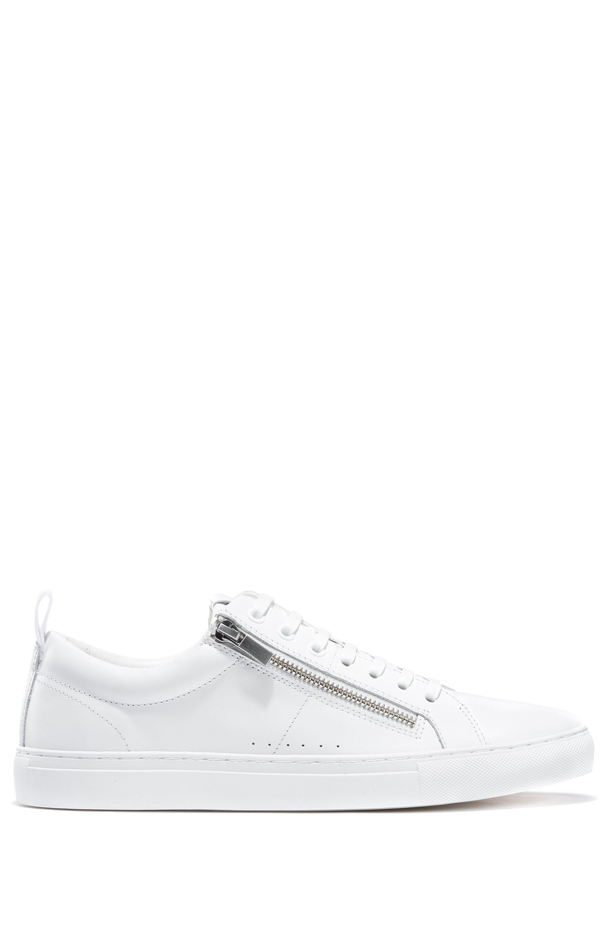 Low-top trainers in nappa leather with side zips, White