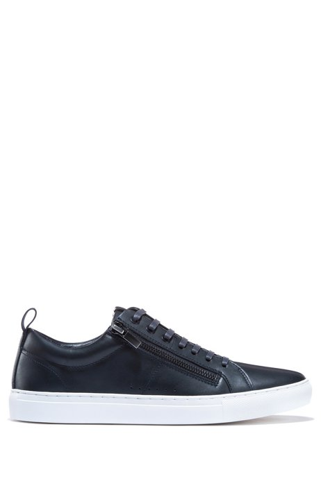 Low-top trainers in nappa leather with side zips, Dark Blue